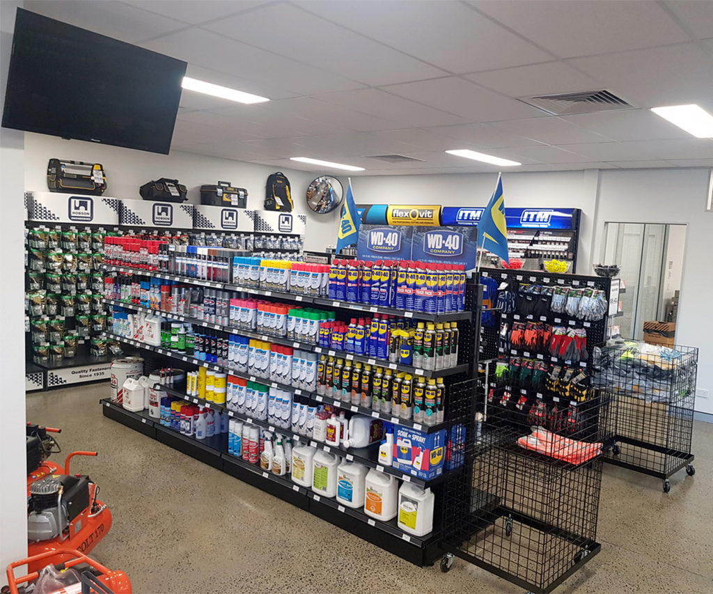 Photo of the counter and showroom at the Nut and Bolt Factory Yatala location.